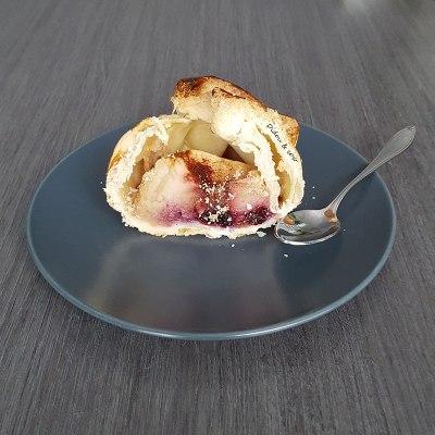 pomme au four coupée en deux