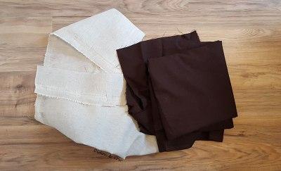 tissu lin beige et tissu marron