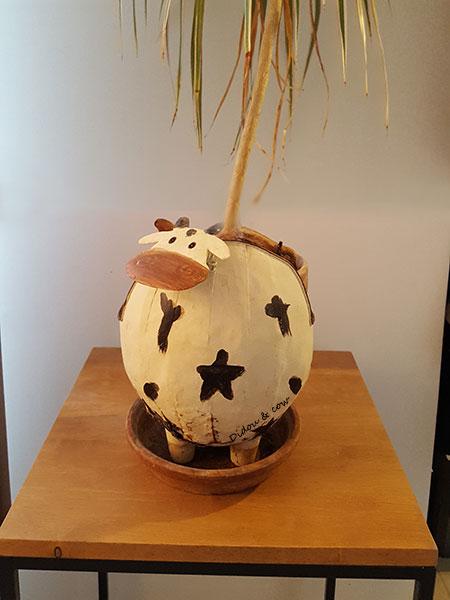 Cache-pot vache artisanal